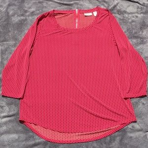 3/4 sleeve blouse red w/black polka dots